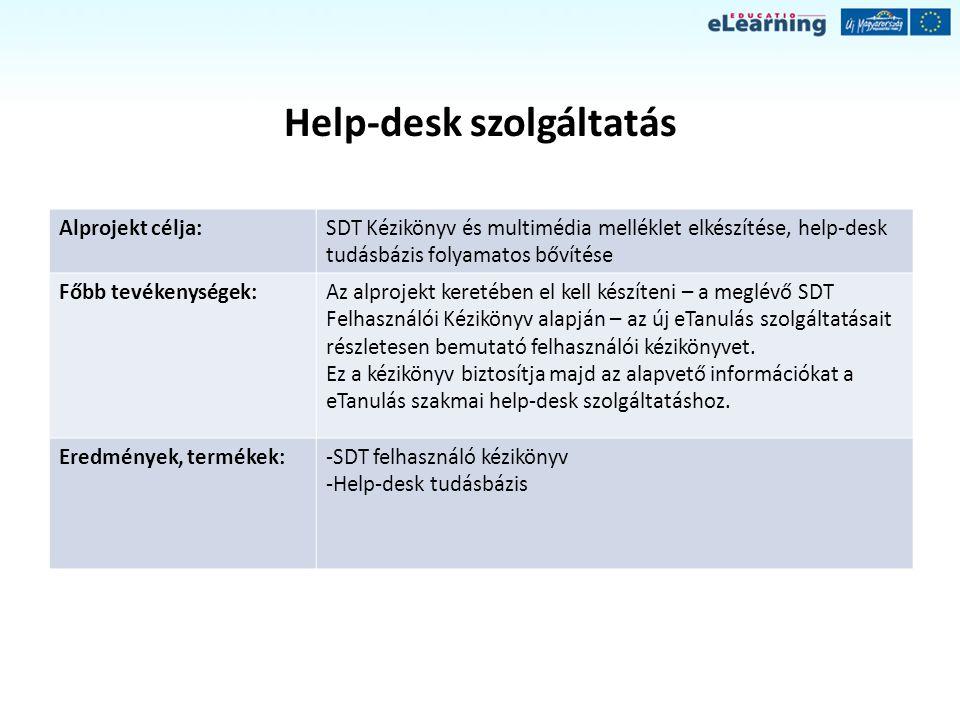 Help-desk szolgáltatás Alprojekt célja:SDT Kézikönyv és multimédia melléklet elkészítése, help-desk tudásbázis folyamatos bővítése Főbb tevékenységek: