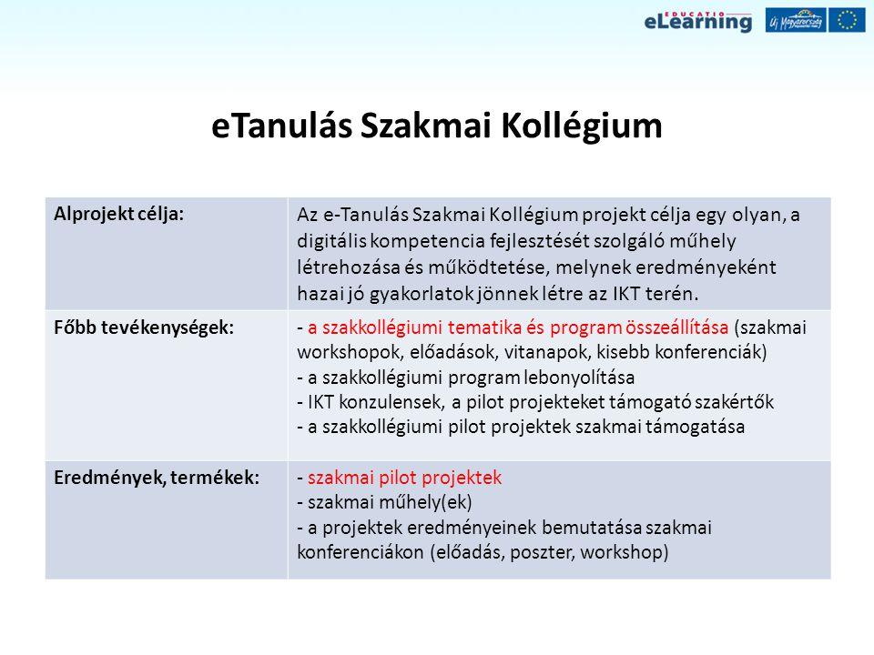eTanulás Szakmai Kollégium Alprojekt célja: Az e-Tanulás Szakmai Kollégium projekt célja egy olyan, a digitális kompetencia fejlesztését szolgáló műhe