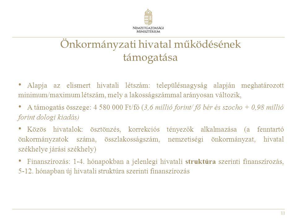 11 Önkormányzati hivatal működésének támogatása Alapja az elismert hivatali létszám: településnagyság alapján meghatározott minimum/maximum létszám, m