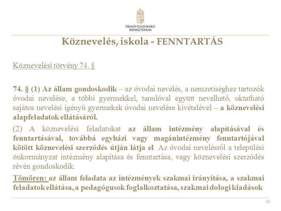 16 Köznevelés, iskola - FENNTARTÁS Köznevelési törvény 74. § 74. § (1) Az állam gondoskodik – az óvodai nevelés, a nemzetiséghez tartozók óvodai nevel
