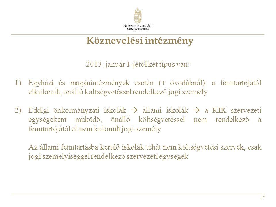 17 Köznevelési intézmény 2013. január 1-jétől két típus van: 1)Egyházi és magánintézmények esetén (+ óvodáknál): a fenntartójától elkülönült, önálló k