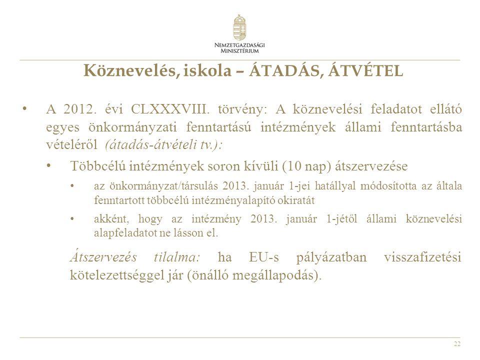 22 Köznevelés, iskola – ÁTADÁS, ÁTVÉTEL A 2012. évi CLXXXVIII. törvény: A köznevelési feladatot ellátó egyes önkormányzati fenntartású intézmények áll