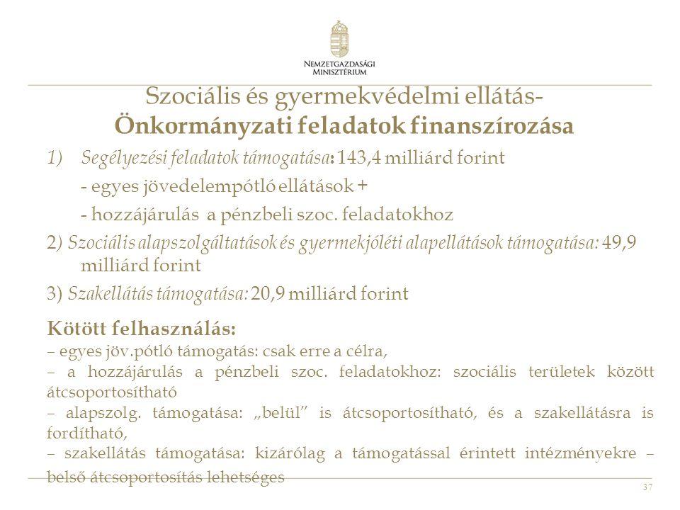 37 Szociális és gyermekvédelmi ellátás- Önkormányzati feladatok finanszírozása 1)Segélyezési feladatok támogatása : 143,4 milliárd forint - egyes jöve