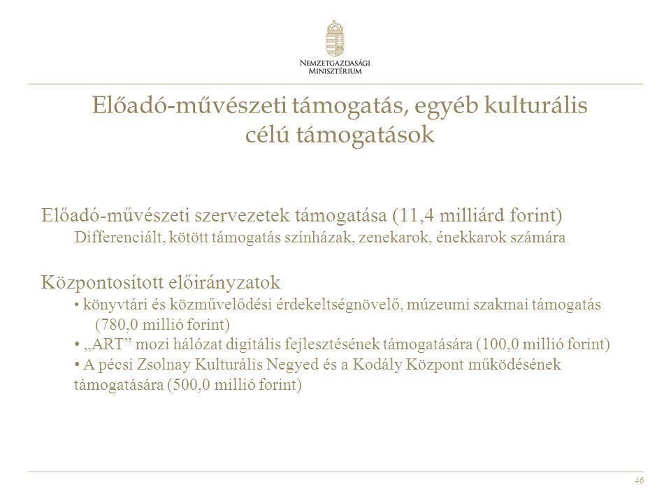 46 Előadó-művészeti támogatás, egyéb kulturális célú támogatások Előadó-művészeti szervezetek támogatása (11,4 milliárd forint) Differenciált, kötött