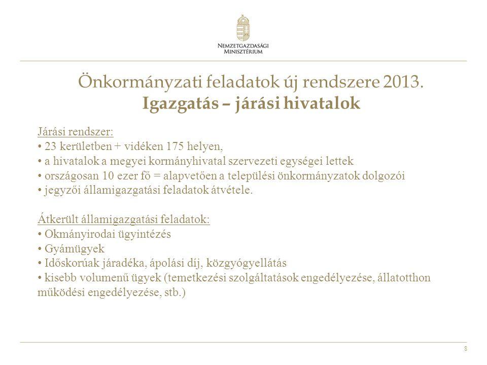 8 Önkormányzati feladatok új rendszere 2013. Igazgatás – járási hivatalok Járási rendszer: 23 kerületben + vidéken 175 helyen, a hivatalok a megyei ko