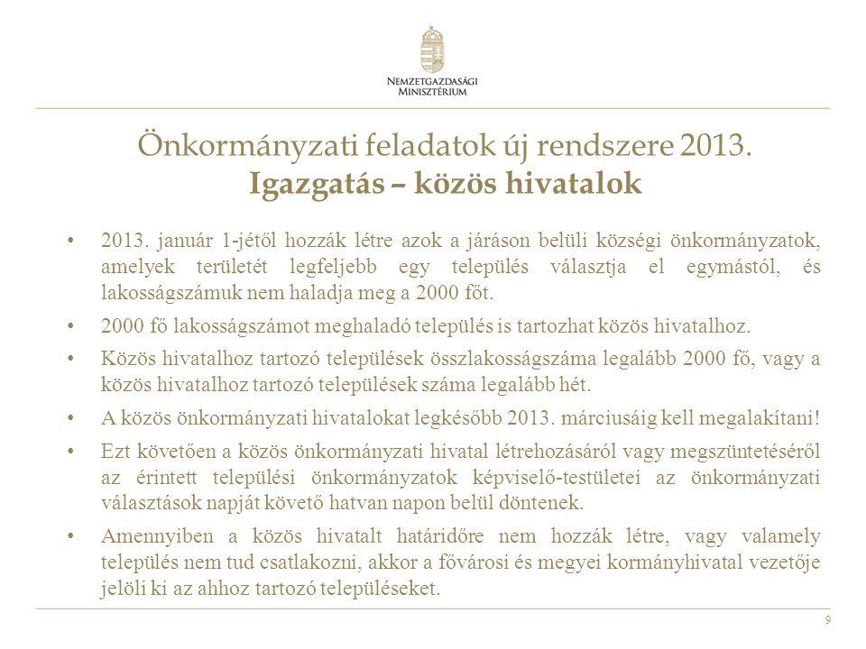 9 Önkormányzati feladatok új rendszere 2013. Igazgatás – közös hivatalok 2013. január 1-jétől hozzák létre azok a járáson belüli községi önkormányzato