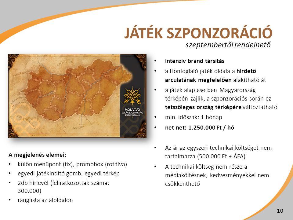 10 intenzív brand társítás a Honfoglaló játék oldala a hirdető arculatának megfelelően alakítható át a játék alap esetben Magyarország térképén zajlik, a szponzorációs során ez tetszőleges ország térképére változtatható min.