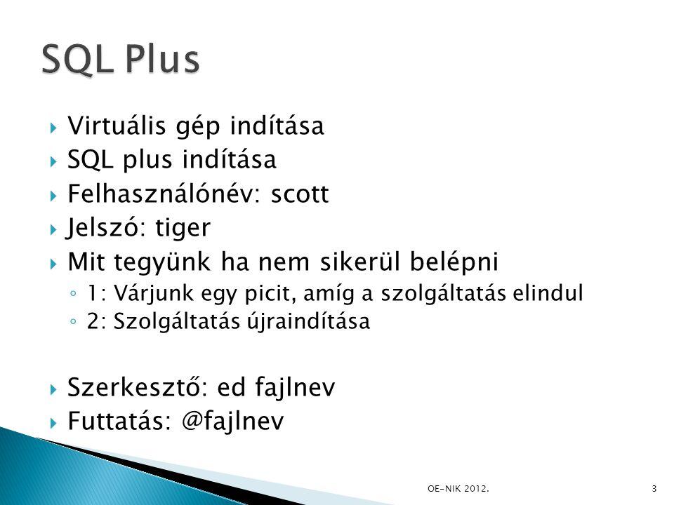  SELECT DISTINCT job FROM emp ORDER BY job asc; OE-NIK 2012. 24