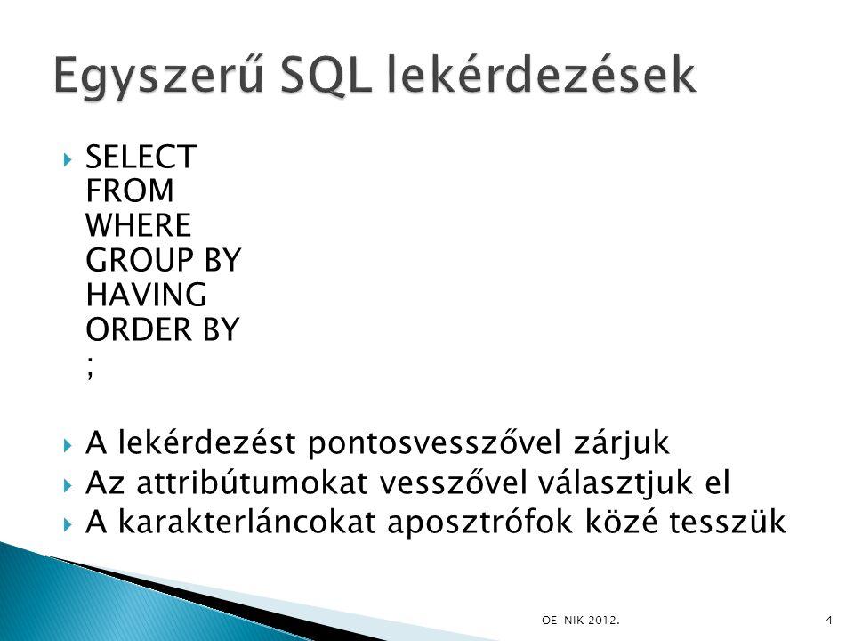 SELECT FROM WHERE GROUP BY HAVING ORDER BY ;  A lekérdezést pontosvesszővel zárjuk  Az attribútumokat vesszővel választjuk el  A karakterláncokat