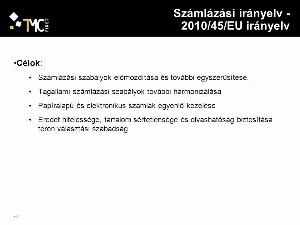 Számlázási irányelv - 2010/45/EU irányelv Célok: Számlázási szabályok előmozdítása és további egyszerűsítése, Tagállami számlázási szabályok további h