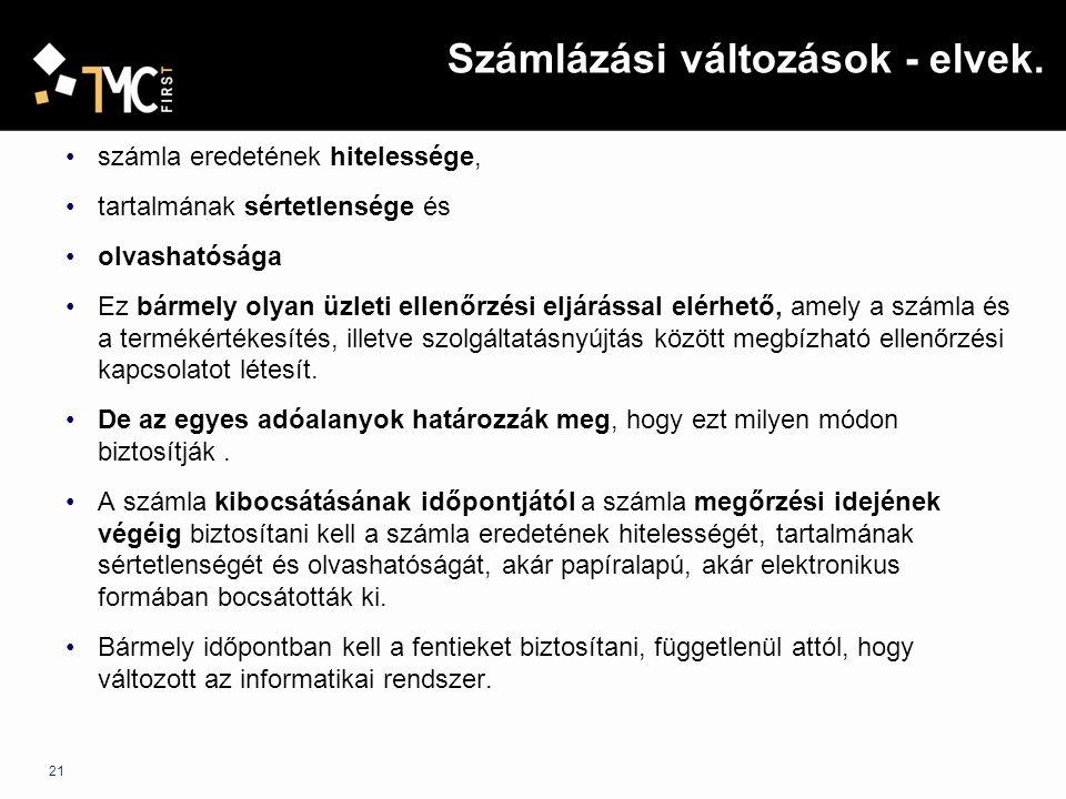 22 Számlázási szabályok – Elektronikus számlázás 1.