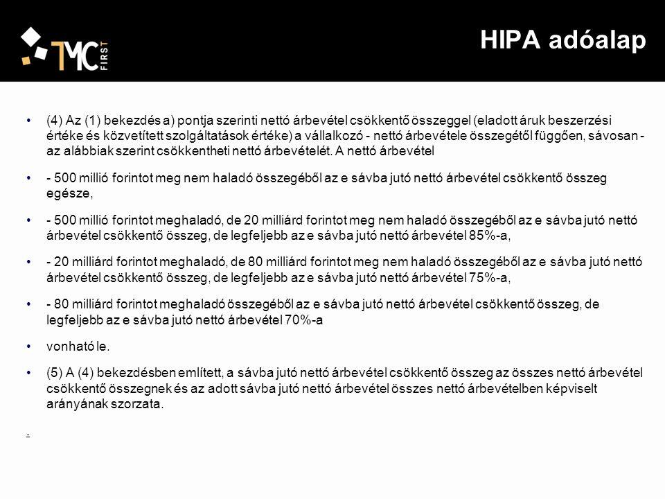 HIPA adóalap (6) A társasági adóról és az osztalékadóról szóló törvény szerint kapcsolt vállalkozásnak minősülő adóalanyok az adó alapját az adóalany kapcsolt vállalkozások összes nettó árbevétele és összes nettó árbevétel-csökkentő ráfordítása [(1) a)-d) pontok] pozitív előjelű különbözeteként - figyelemmel a (4) és (5) bekezdésben foglaltakra - állapítják meg, azzal, hogy az egyes adóalanyok adóalapja ezen különbözetnek és az adóalany nettó árbevételének a kapcsolt vállalkozások összes nettó árbevételében képviselt arányának szorzata.