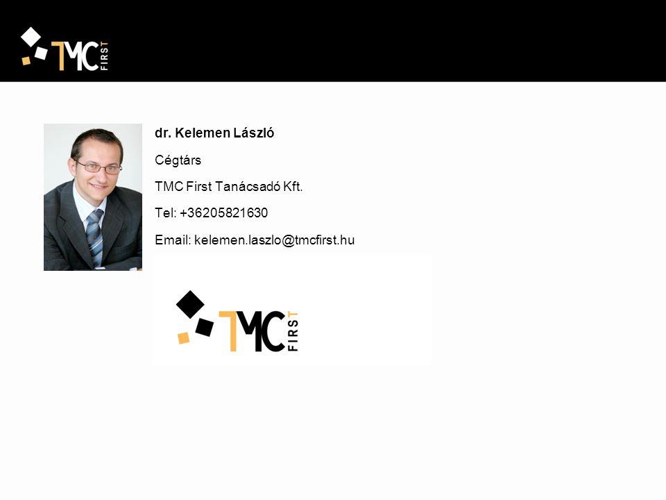 dr. Kelemen László Cégtárs TMC First Tanácsadó Kft. Tel: +36205821630 Email: kelemen.laszlo@tmcfirst.hu