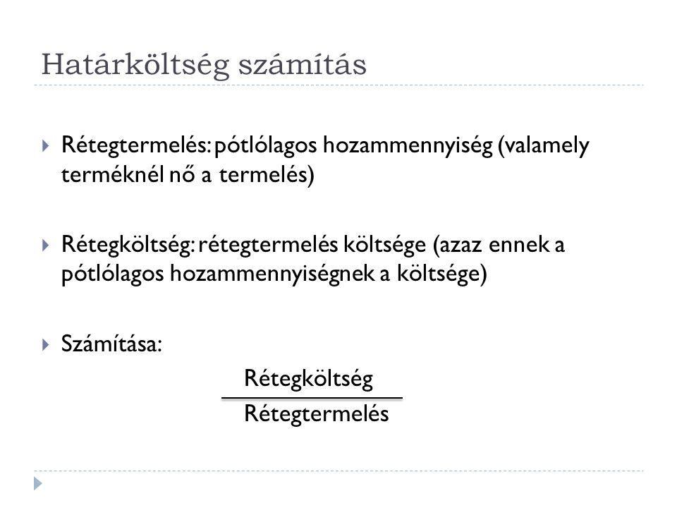 Határköltség számítás  Rétegtermelés: pótlólagos hozammennyiség (valamely terméknél nő a termelés)  Rétegköltség: rétegtermelés költsége (azaz ennek a pótlólagos hozammennyiségnek a költsége)  Számítása: Rétegköltség Rétegtermelés