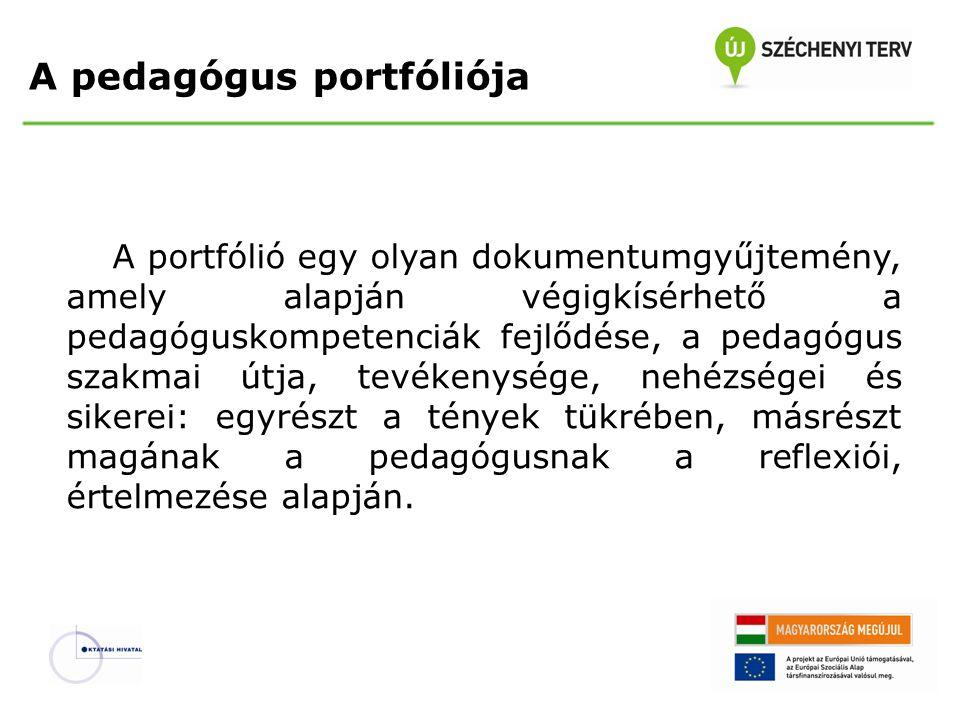A pedagógus portfóliója A portfólió egy olyan dokumentumgyűjtemény, amely alapján végigkísérhető a pedagóguskompetenciák fejlődése, a pedagógus szakma