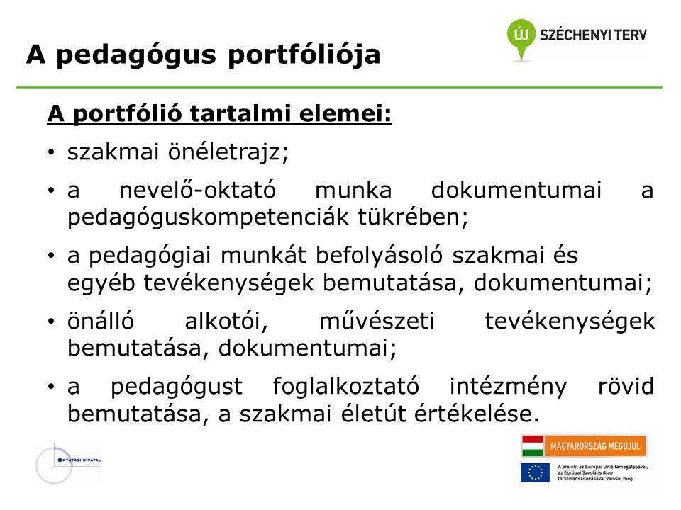 A pedagógus portfóliója A portfólió tartalmi elemei: szakmai önéletrajz; a nevelő-oktató munka dokumentumai a pedagóguskompetenciák tükrében; a pedagó