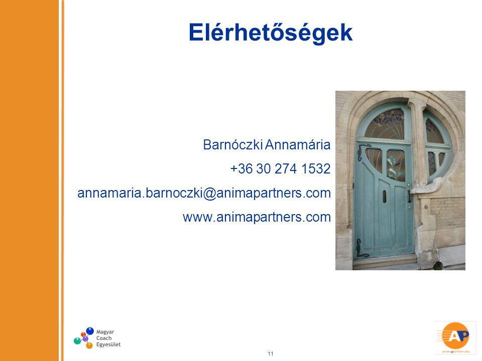 Elérhetőségek Barnóczki Annamária +36 30 274 1532 annamaria.barnoczki@animapartners.com www.animapartners.com 11