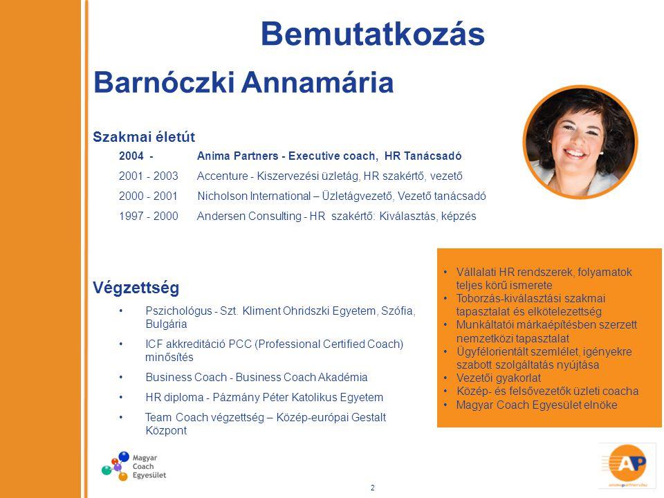 Bemutatkozás Szakmai életút 2004 - Anima Partners - Executive coach, HR Tanácsadó 2001 - 2003 Accenture - Kiszervezési üzletág, HR szakértő, vezető 2000 - 2001 Nicholson International – Üzletágvezető, Vezető tanácsadó 1997 - 2000 Andersen Consulting - HR szakértő: Kiválasztás, képzés Vállalati HR rendszerek, folyamatok teljes körű ismerete Toborzás-kiválasztási szakmai tapasztalat és elkötelezettség Munkáltatói márkaépítésben szerzett nemzetközi tapasztalat Ügyfélorientált szemlélet, igényekre szabott szolgáltatás nyújtása Vezetői gyakorlat Közép- és felsővezetők üzleti coacha Magyar Coach Egyesület elnöke Végzettség Pszichológus - Szt.