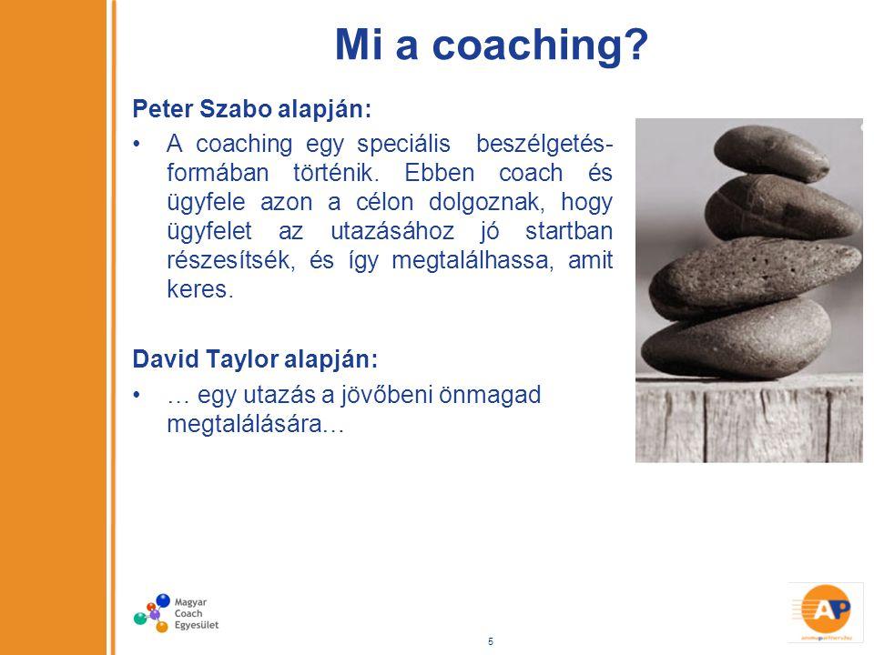 Mi a coaching. Peter Szabo alapján: A coaching egy speciális beszélgetés- formában történik.