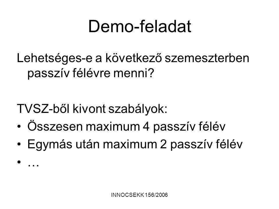 Demo-feladat Lehetséges-e a következő szemeszterben passzív félévre menni.