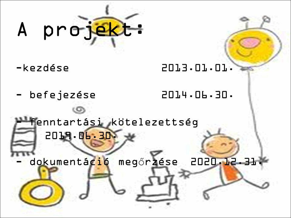 A projekt: -kezdése2013.01.01. - befejezése2014.06.30.
