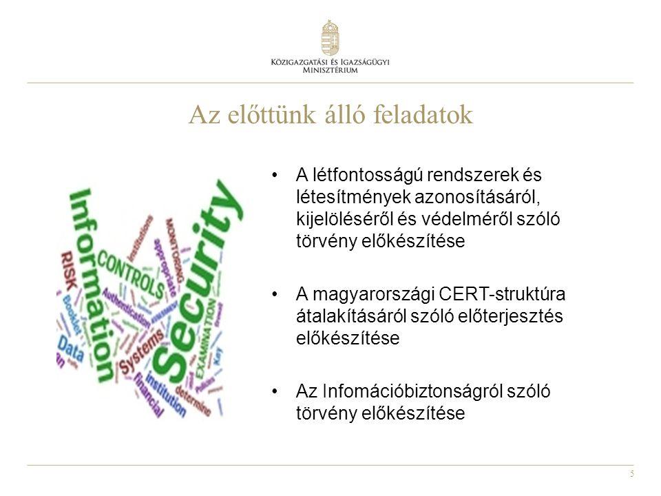 5 Az előttünk álló feladatok A létfontosságú rendszerek és létesítmények azonosításáról, kijelöléséről és védelméről szóló törvény előkészítése A magyarországi CERT-struktúra átalakításáról szóló előterjesztés előkészítése Az Infomációbiztonságról szóló törvény előkészítése