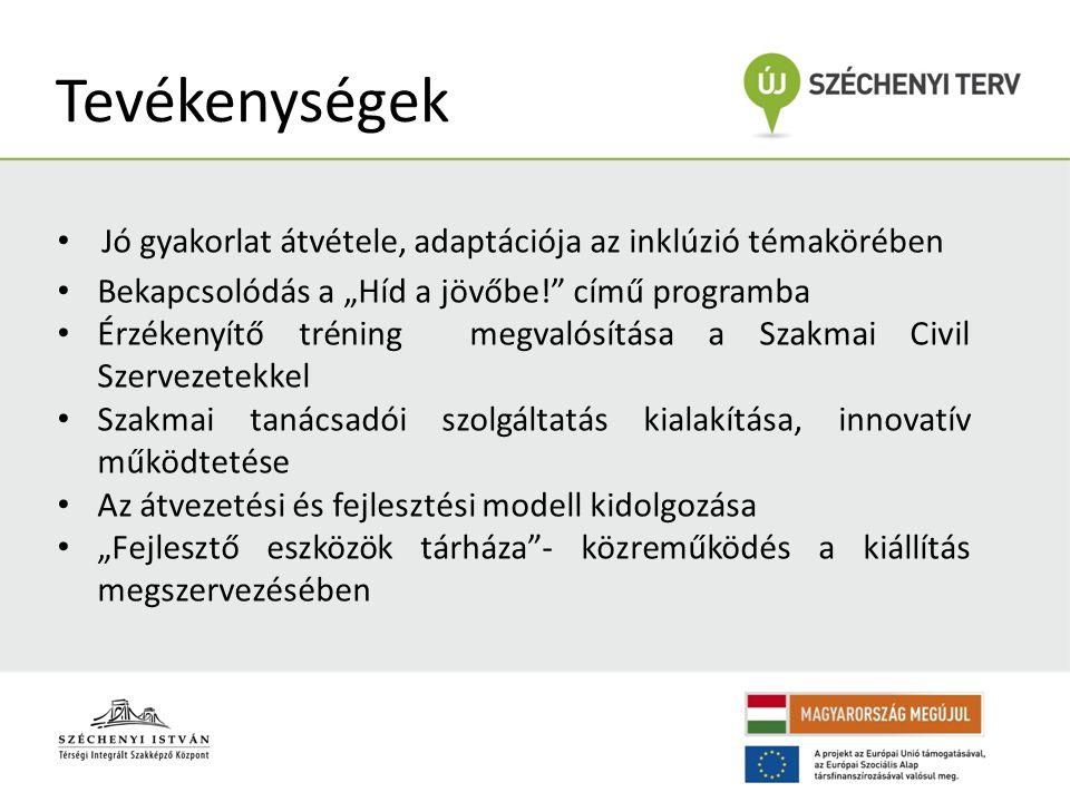 """Tevékenységek Jó gyakorlat átvétele, adaptációja az inklúzió témakörében Bekapcsolódás a """"Híd a jövőbe! című programba Érzékenyítő tréning megvalósítása a Szakmai Civil Szervezetekkel Szakmai tanácsadói szolgáltatás kialakítása, innovatív működtetése Az átvezetési és fejlesztési modell kidolgozása """"Fejlesztő eszközök tárháza - közreműködés a kiállítás megszervezésében"""