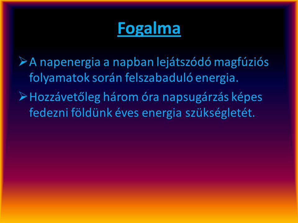 Fogalma  A napenergia a napban lejátszódó magfúziós folyamatok során felszabaduló energia.  Hozzávetőleg három óra napsugárzás képes fedezni földünk