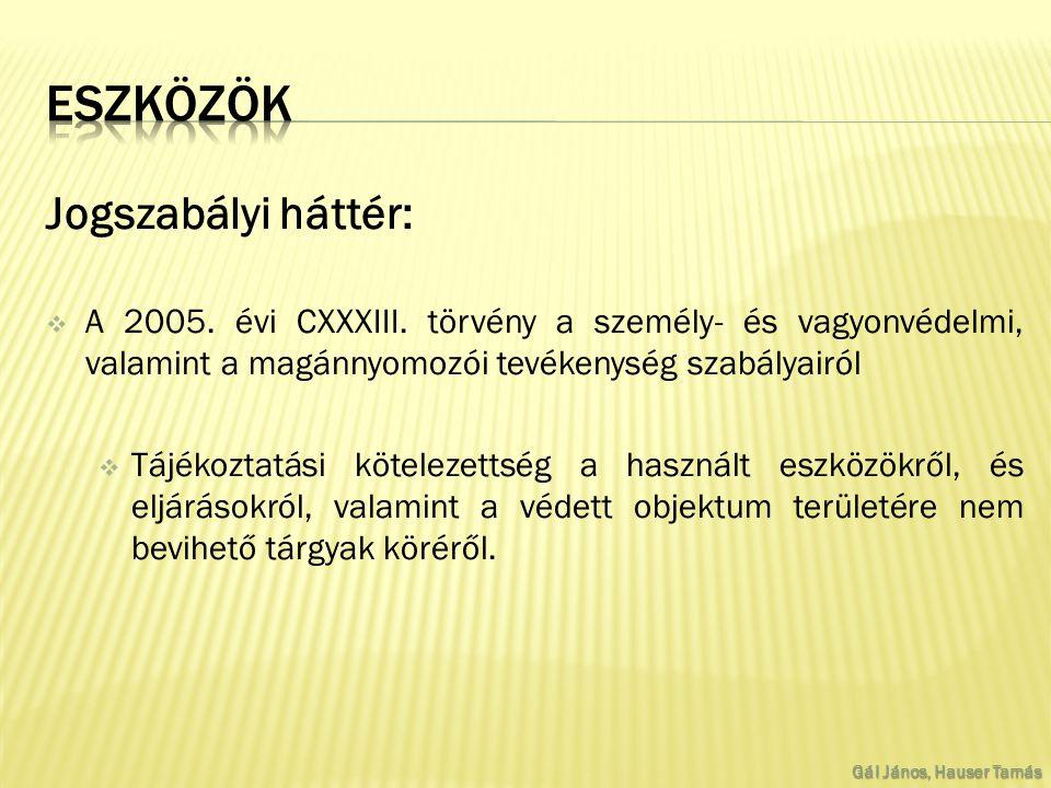 Jogszabályi háttér:  A 2005. évi CXXXIII.