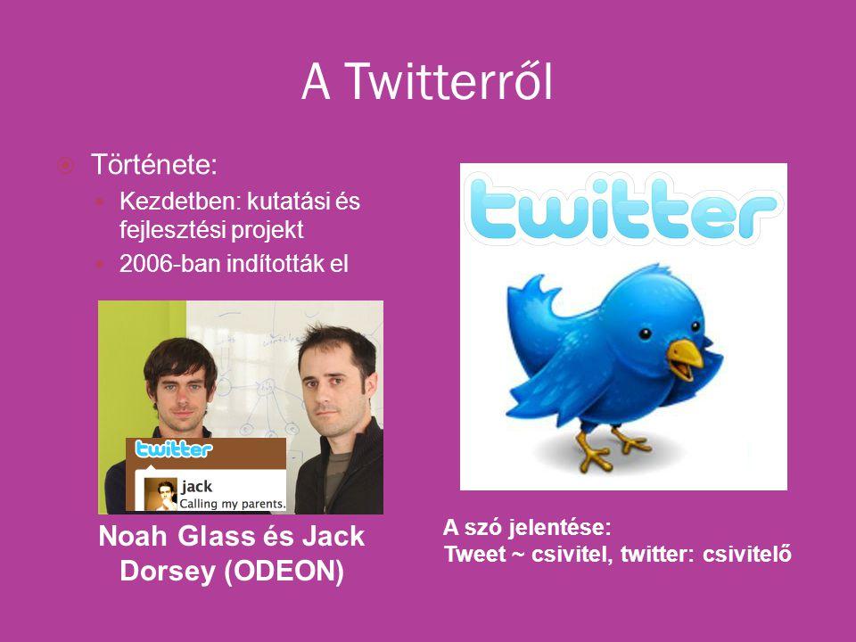 A Twitterről Noah Glass és Jack Dorsey (ODEON) A szó jelentése: Tweet ~ csivitel, twitter: csivitelő  Története: Kezdetben: kutatási és fejlesztési projekt 2006-ban indították el