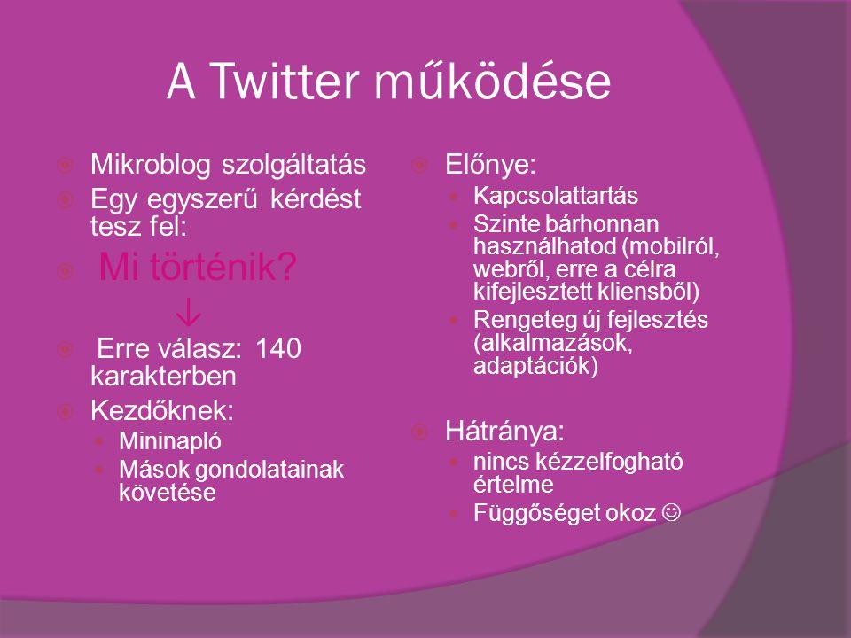 A Twitter működése  Mikroblog szolgáltatás  Egy egyszerű kérdést tesz fel:  Mi történik.