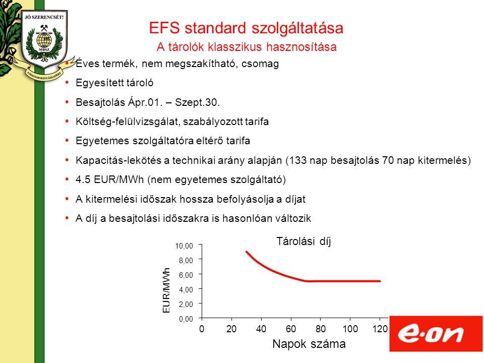 17 EFS standard szolgáltatása  Éves termék, nem megszakítható, csomag  Egyesített tároló  Besajtolás Ápr.01. – Szept.30.  Költség-felülvizsgálat,