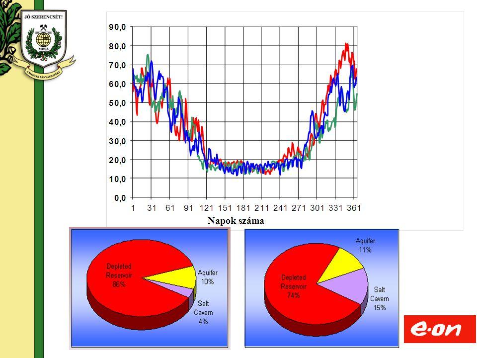 13 Felszín alatt  homokkő tároló  Rétegnyomás: 60 – 98 bar  Mélység: 960 – 980 m  98 db besajtoló – kitermelő kút  (31 db megfigyelő kút)  Kútkapacitás: 70 – 450 ezer m 3 /nap  Párnagáz: 2.133 Mm 3 Felszín  6 db gázmotor hajtású dugattyús kompresszor  3 db gázturbina hajtású turbókompr  7 db glikol-abszorpciós gázelőkészítő Specialitás  Nagy kapacitású homokkő tároló korlátozott vízbeáramlással  Kompresszorozás lehetősége kitermeléskor Hajdúszoboszló
