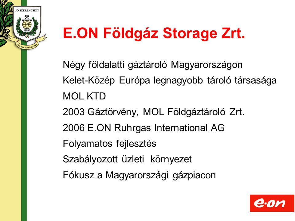 3 Négy földalatti gáztároló Magyarországon Kelet-Közép Európa legnagyobb tároló társasága MOL KTD 2003 Gáztörvény, MOL Földgáztároló Zrt. 2006 E.ON Ru
