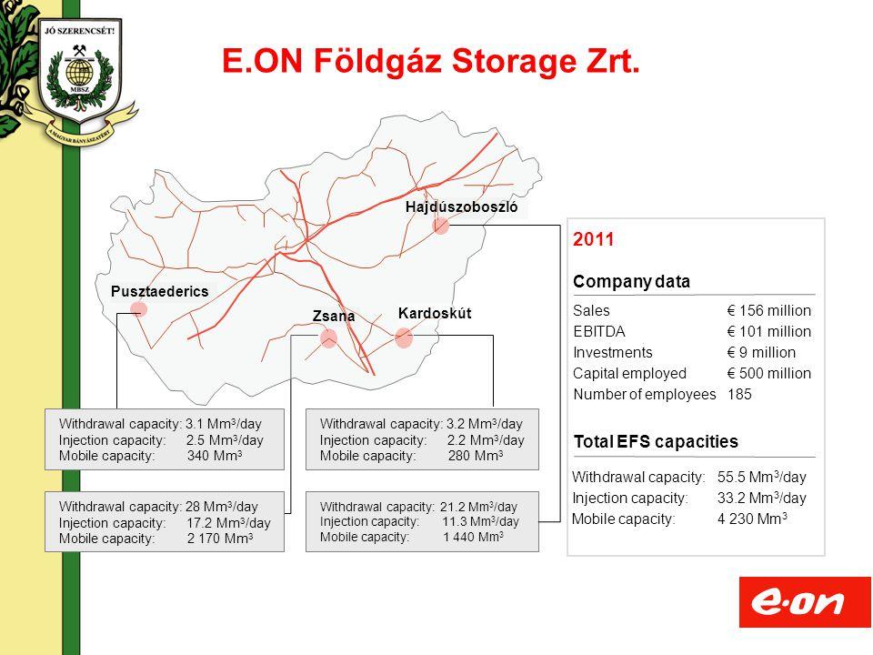 7 Földalatti gáztárolók Magyarországon Kardoskút Zsana Pusztaederics Hajdúszoboszló EFS storage sites Withdrawal capacity: 3.1 Mm 3 /day Injection capacity: 2.5 Mm 3 /day Mobile capacity: 340 Mm 3 Withdrawal capacity: 28 Mm 3 /day Injection capacity: 17.2 Mm 3 /day Mobile capacity: 2 170 Mm 3 Withdrawal capacity: 21.2 Mm 3 /day Injection capacity: 11.3 Mm 3 /day Mobile capacity: 1 440 Mm 3 Withdrawal capacity: 3.2 Mm 3 /day Injection capacity: 2.2 Mm 3 /day Mobile capacity: 280 Mm 3 MMBF storage site Strategic storage Commercial storage Withdrawal capacity: 20 Mm 3 /day Injection capacity: 10 Mm 3 /day Mobile capacity: 1200 Mm 3 Withdrawal capacity: 5 Mm 3 /day Injection capacity: 2.7 Mm 3 /day Mobile capacity: 700 Mm 3 MMBF: Joint Venture between MOL and MSZKSZ Szöreg