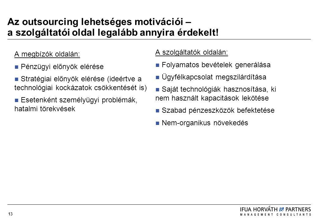 13 Az outsourcing lehetséges motivációi – a szolgáltatói oldal legalább annyira érdekelt! A megbízók oldalán: Pénzügyi előnyök elérése Stratégiai előn