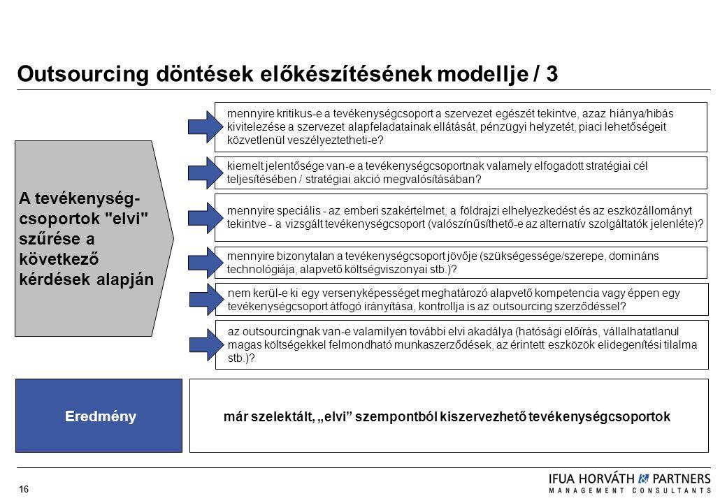 16 Outsourcing döntések előkészítésének modellje / 3 mennyire kritikus-e a tevékenységcsoport a szervezet egészét tekintve, azaz hiánya/hibás kivitele