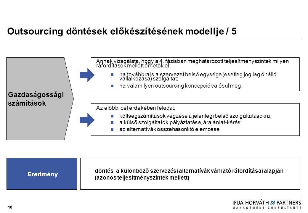 18 Outsourcing döntések előkészítésének modellje / 5 Annak vizsgálata, hogy a 4. fázisban meghatározott teljesítményszintek milyen ráfordítások mellet