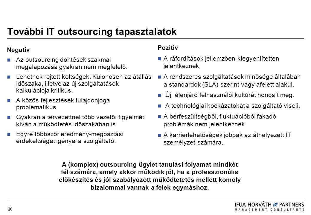 20 További IT outsourcing tapasztalatok Negatív Az outsourcing döntések szakmai megalapozása gyakran nem megfelelő. Lehetnek rejtett költségek. Különö