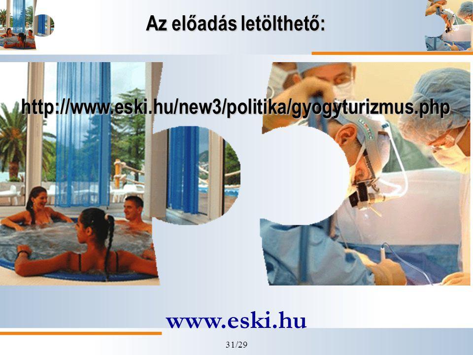 31/29 Az előadás letölthető: http://www.eski.hu/new3/politika/gyogyturizmus.php www.eski.hu
