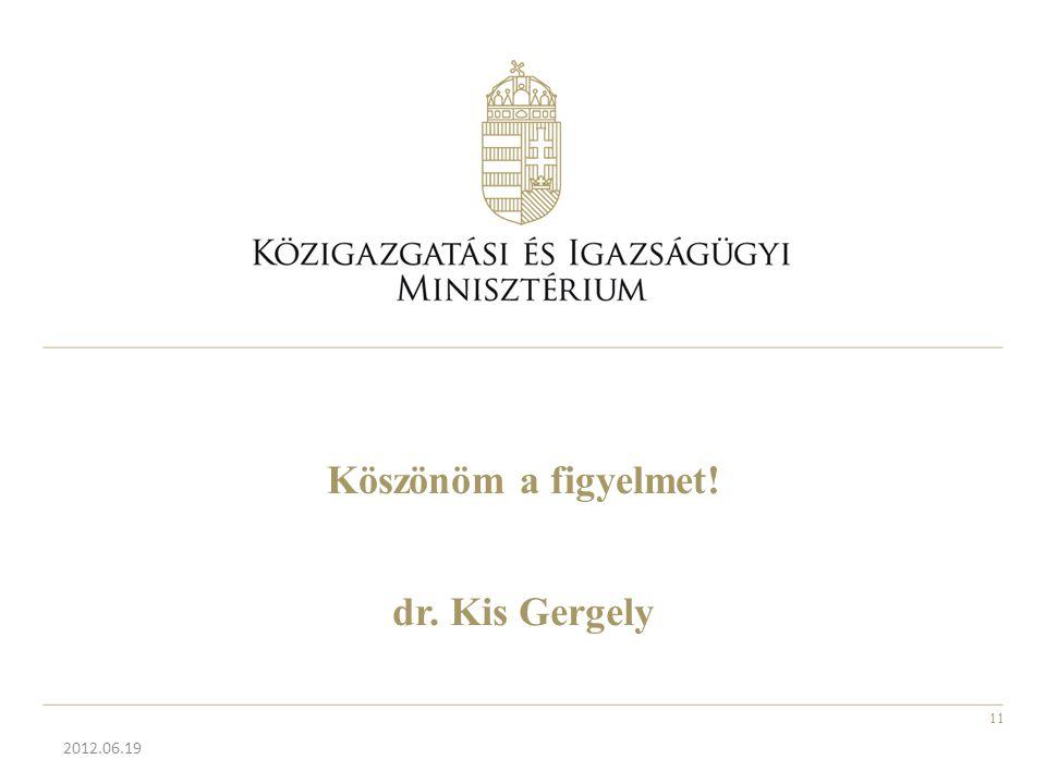 Köszönöm a figyelmet! dr. Kis Gergely 2012.06.19 11