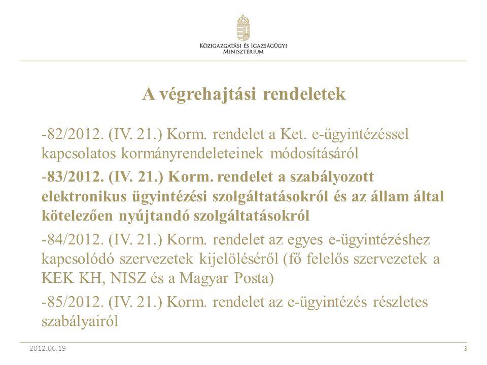 3 2012.06.19 A végrehajtási rendeletek -82/2012. (IV. 21.) Korm. rendelet a Ket. e-ügyintézéssel kapcsolatos kormányrendeleteinek módosításáról -83/20