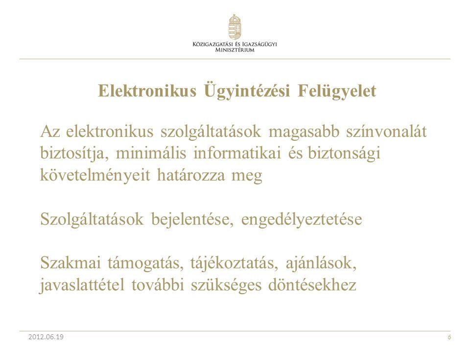 6 2012.06.19 Elektronikus Ügyintézési Felügyelet Az elektronikus szolgáltatások magasabb színvonalát biztosítja, minimális informatikai és biztonsági
