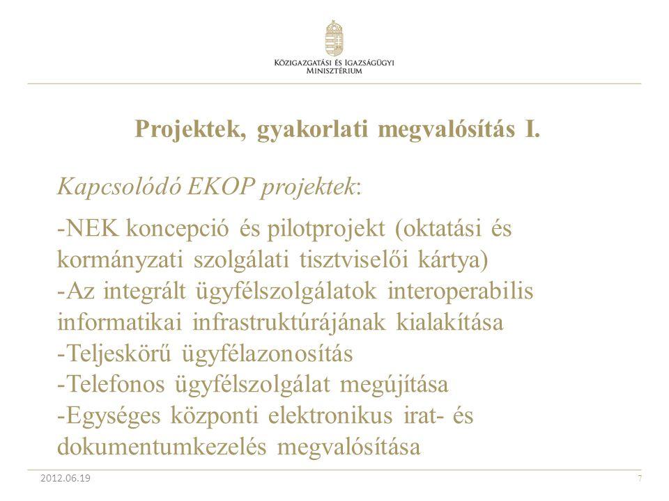 7 2012.06.19 Projektek, gyakorlati megvalósítás I. Kapcsolódó EKOP projektek: -NEK koncepció és pilotprojekt (oktatási és kormányzati szolgálati tiszt