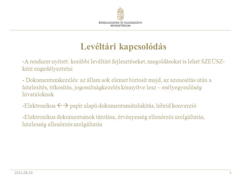 9 2012.06.19 Levéltári kapcsolódás -A rendszer nyitott: korábbi levéltári fejlesztéseket, megoldásokat is lehet SZEÜSZ- ként engedélyeztetni - Dokumen