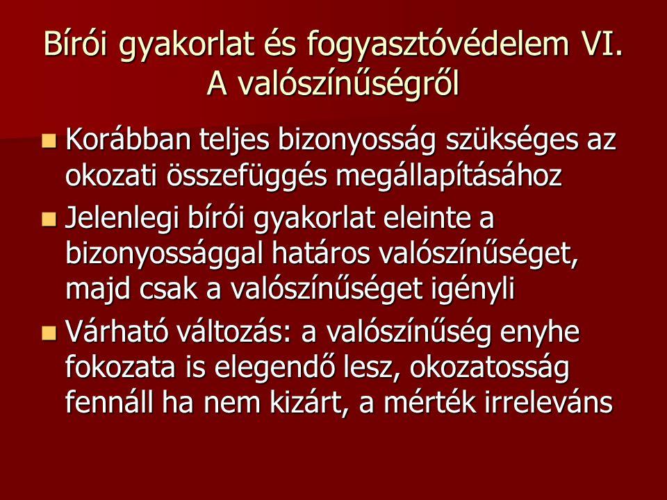 Bírói gyakorlat és fogyasztóvédelem VI.