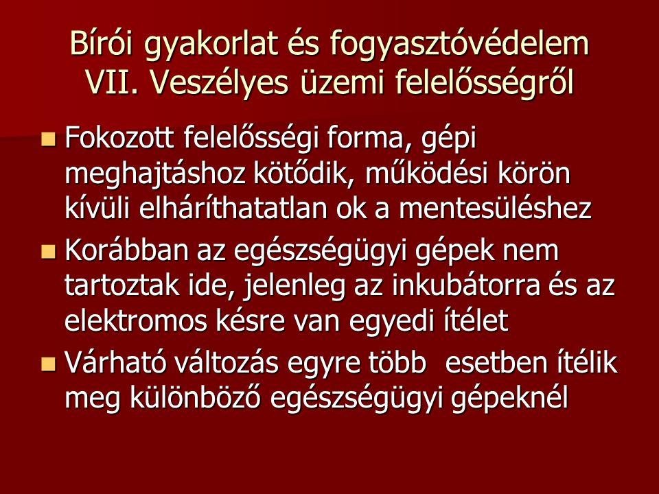 Bírói gyakorlat és fogyasztóvédelem VII.
