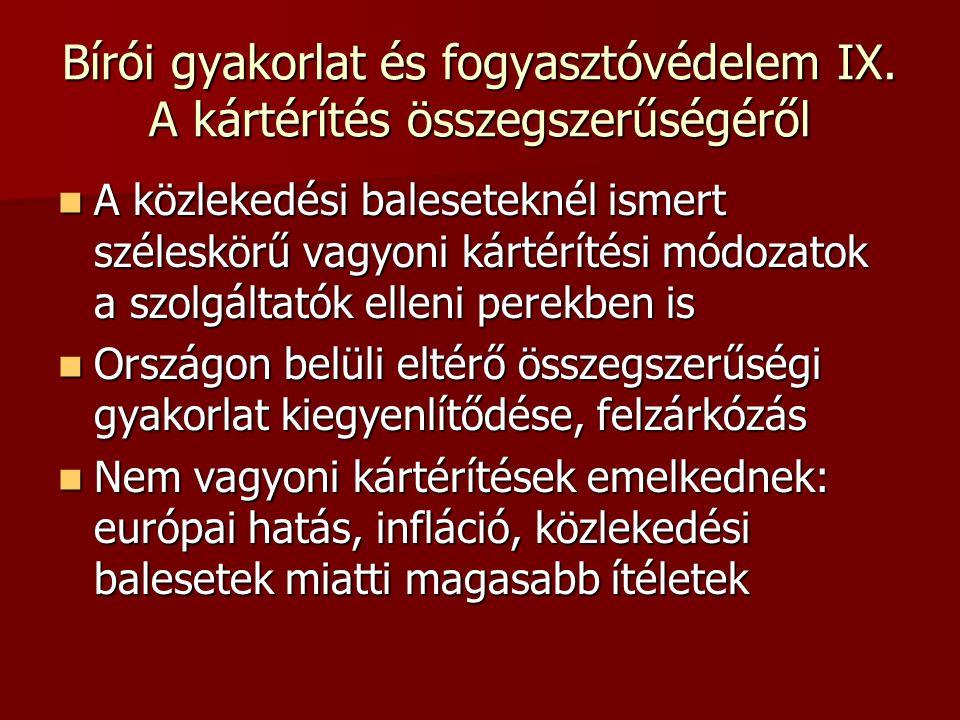 Bírói gyakorlat és fogyasztóvédelem IX.