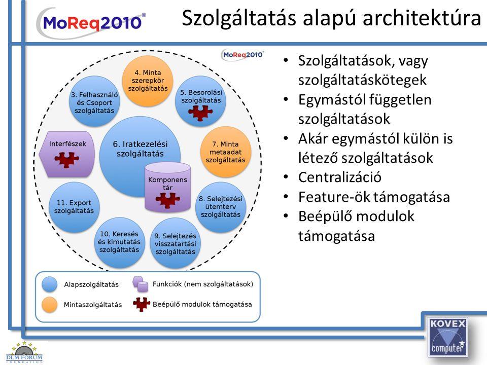 Szolgáltatás alapú architektúra Szolgáltatások, vagy szolgáltatáskötegek Egymástól független szolgáltatások Akár egymástól külön is létező szolgáltatá