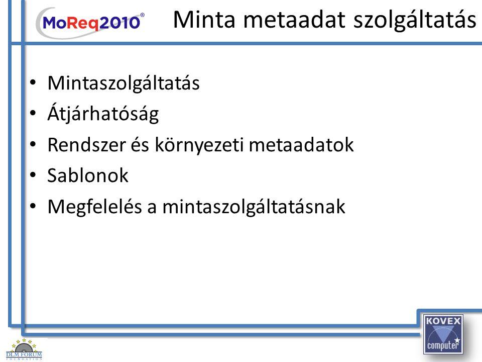 Minta metaadat szolgáltatás Mintaszolgáltatás Átjárhatóság Rendszer és környezeti metaadatok Sablonok Megfelelés a mintaszolgáltatásnak